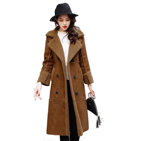 Зима Длинная Замша Куртка Женщины Двубортный Ягненка Шерсть Ветровка Элегантный Тонкий Мода Куртка Пальто Abrigos Mujer Q492