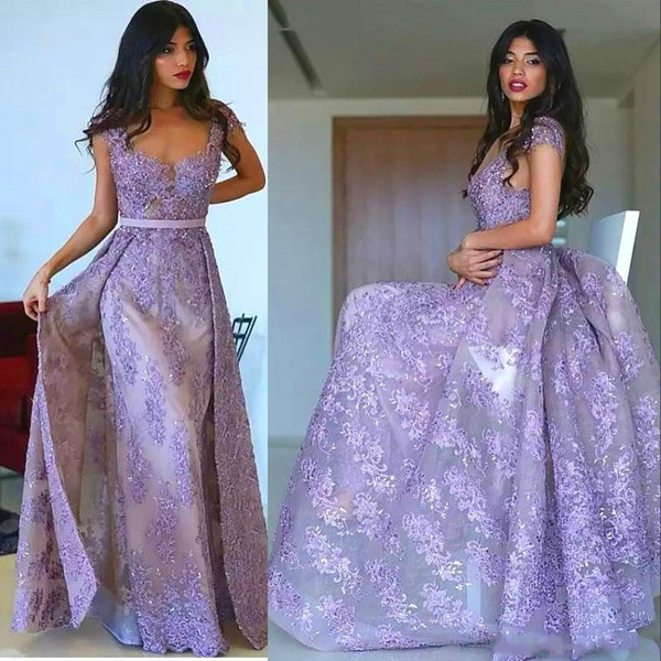 Turkey Lavender Overskirt Dresses Evening Wear Scoop Cap Sleeves Lace Appliques Formal Prom Reception Gowns Fashion Arabic Elegant For Sale