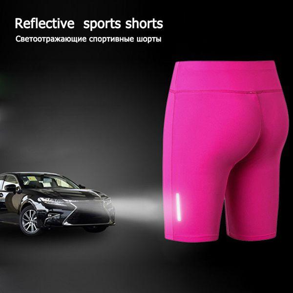 2019 Hot Sexy Yoga Shorts Women Sports Compression Gym Shorts Reflective High Waist Elastic Sports Jogger Running Beach Exercise Shorts