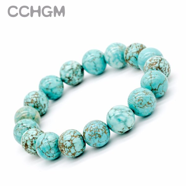 2017 New Natural Turquoises stone beads bracelets for women round beads bracelet jewelry with pendant vintage jewelry Bracelets