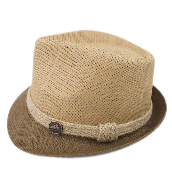 EPU-MH1836 Stingy Brim combo color Man and woman Breathing straw fedora Hat Ladies Street Fashion High Quality Trilby Jazz Hat casquette