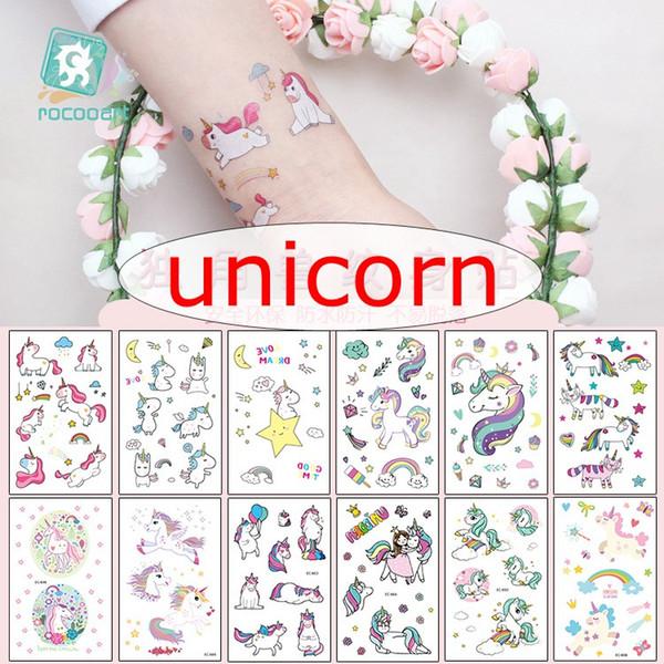 best selling 12*7.5cm INS Waterproof temporary fake tattoo stickers pink unicorn horse cartoon design kids child body art make up tools 25styles choose