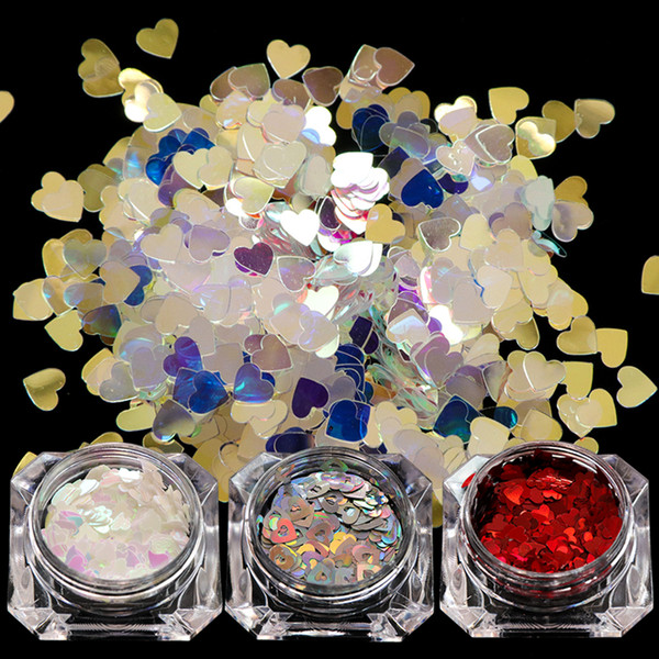 1 Bottle Chameleon AB Laser Nail Art Sequins Glitter Shape Heart Star Dazzling Tips Nail Flakes 3D Decoration Paillette SA678