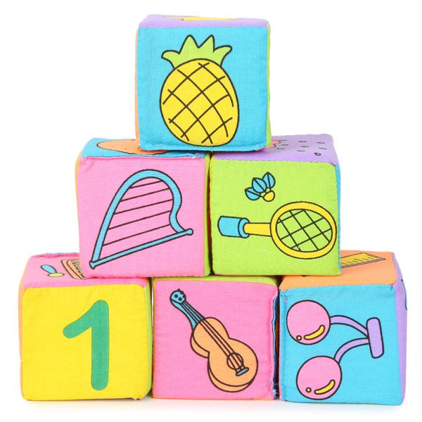 best selling Infant Baby Kids 7cm Cloth Building Blocks Educational Rattles Set Toys