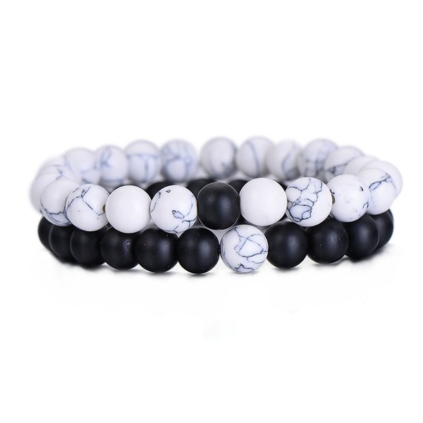 Fashion Couples Distance Bracelet Classic Stone White and Black Yin Yang Beaded Bracelets for Men Women Best Friend 2PCS/SET