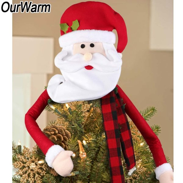 wholesale Santa Claus Hat Christmas Tree Topper Large Christmas Ornaments on the Tree New Year's Products Christmas Tree Top