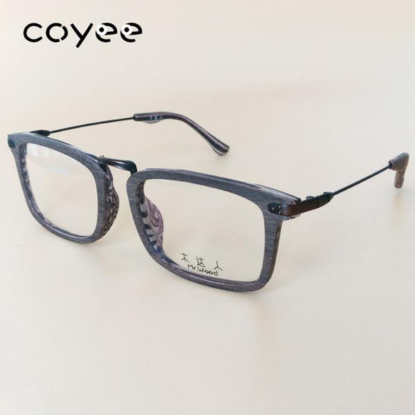 Coyee Acetato Marcos de anteojos Grano de madera Gafas de estilo Marco cuadrado Piernas elásticas Mujeres Hombres RX Gafas ópticas Llanta completa Espectáculos