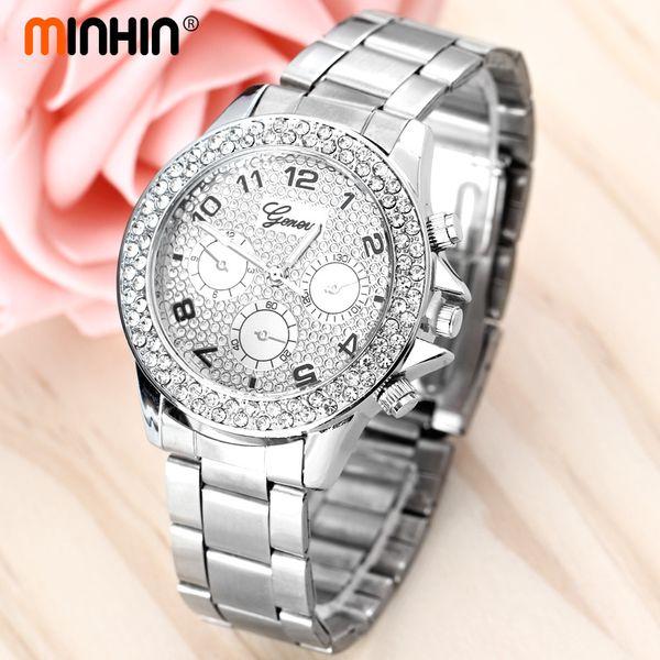 Marka Elbise Kuvars Saatler İş Rhinestone Charm Çelik Bant Tarih Saatı Bayanlar Cenevre Bileklik Saatler
