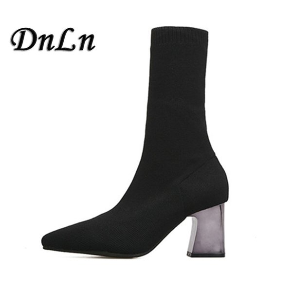 2018 Fashion Ankle Elastic Sock Boots Chunky High Heels Stretch Women Autumn Sexy Booties Pointed Toe Women Pump D50