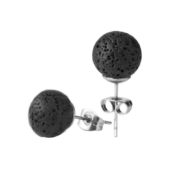 6mm 8mm 10mm Noir Pierre de Lave Perles Dormeuses Boucles D'oreilles DIY Huile essentielle Diffuseur Bracelet Roche volcanique Perlé À La Main Cordes Bijoux