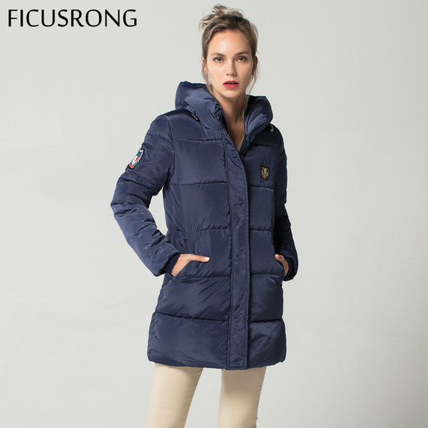 FICUSRONG 2018 New Long Down Parkas Female Women Winter Coat Thick Warm Cotton Hooded Jacket Womens Outerwear Parkas for Women S919