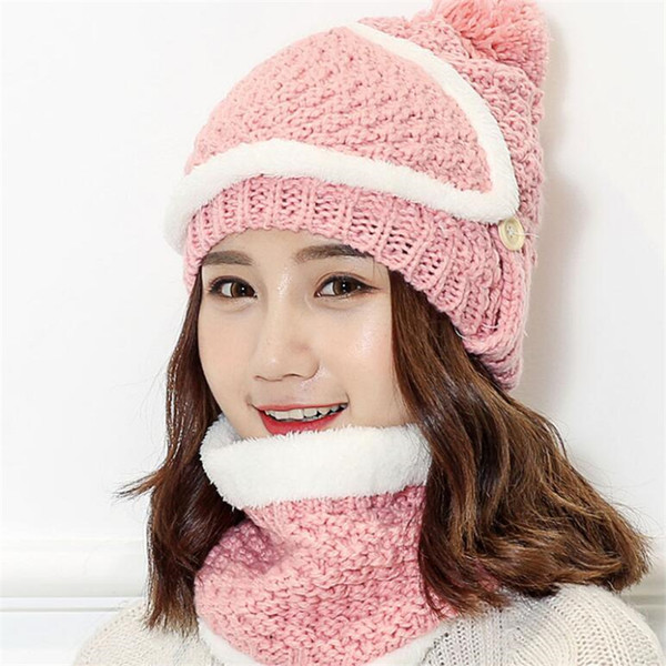 IANLAN Winter Thermal Sets Hat with Mask + Muffler Women Knit Wool Beanie Scarf Warm Riding Sets Girls Caps Neckerchiefs IL00170