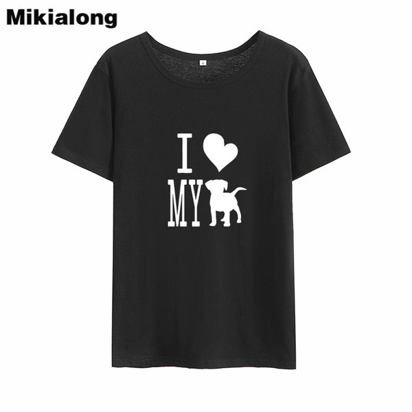 Mikialong I Love My Dog T-shirt Women Summer Kawaii Tshirts Cotton Women White Printed Tee Shirt Femme Tumblr T Shirt