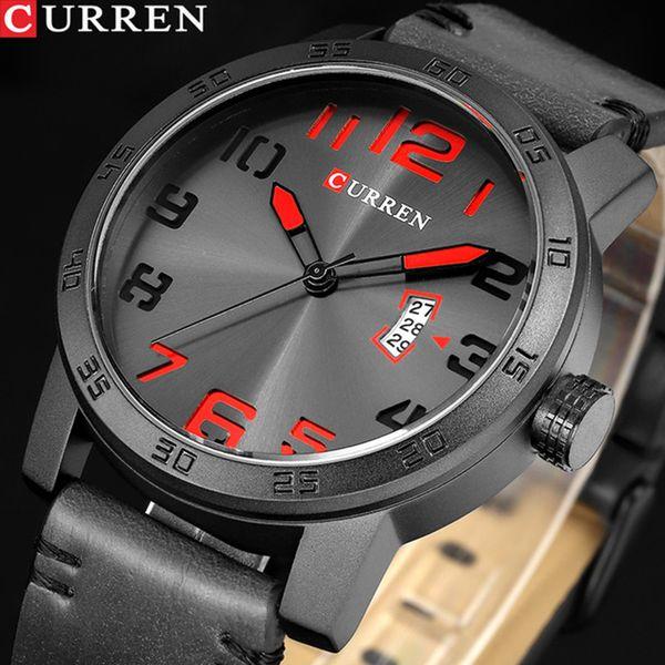NEW CURREN  Men Sport Watches Men's Quartz Clock Man Army  Leather Wrist Watch Relogio Masculino Dropship