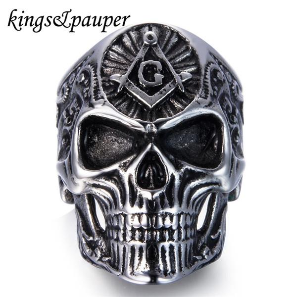 whole salePunk Hip Hop Engrave Masonic Freemason Skull Ring Vintage Gothic Hiphop Free Mason Freemasonry Stainless Steel Men Jewellery