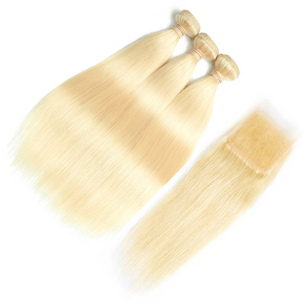 8a Brazilian Virgin Hair #613 Blond 3 Bundles with Closure Top Lace Closure and Bundles Silk Straight Hair Bundles and Closure