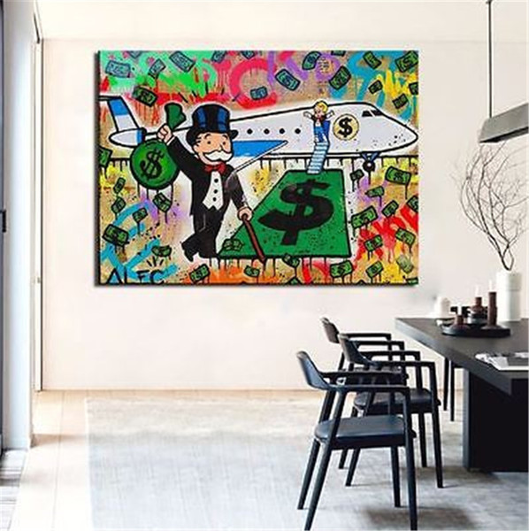 Alec Monopoly Bansky Oil Painting on Canvas Graffiti art Decor Airplane 24X36inch Unframed/No Stretch