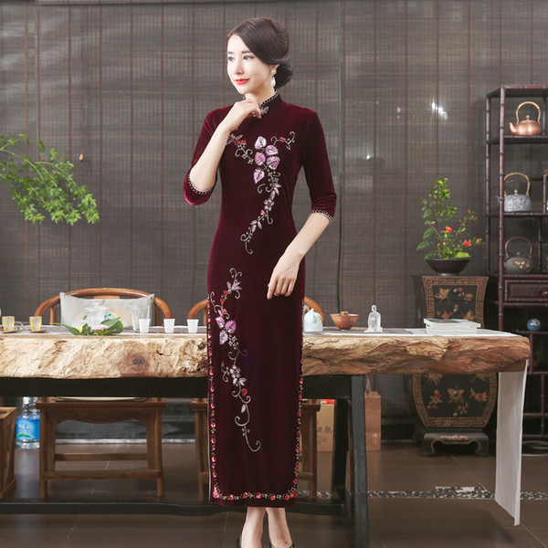 2019 luxurious plus size 3/4 long sleeve/short sleeve velvet embroidery wine red/purple long cheongsam wedding dress evening dress qipao