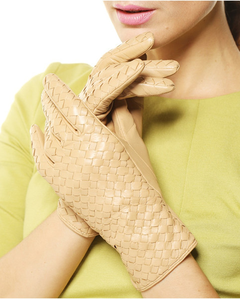 New Knitted Genuine Leather Glove For Women Short Thin Suede Elegant Glove Camel Black Fashion1 Pair/Lots XL L M S