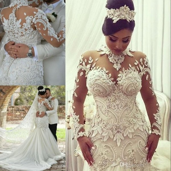 2019 Arabic Mermaid Trumpet Wedding Dresses High Neck Long Sleeves 3D Floral Appliques Lace Tiered Skirts Bridal Gowns Sweep Train