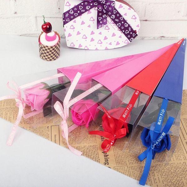 Caja de envoltura de flores Caja de regalo elegante y elegante de una sola flor con cono de rosa para el día de San Valentín Caja de papel de embalaje de flores para bodas para el amante