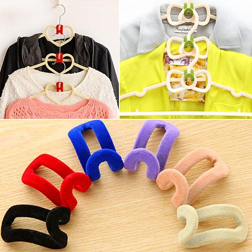 10Pcs/Set Home Creative Mini Flocking Clothes Hanger Easy Hook Closet Organizer For Room