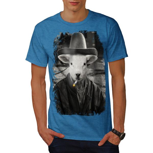 Wellcoda Sheep Smoke Cute Animal Mens T-shirt, Funny Graphic Design Printed Tee Cool Casual pride t shirt
