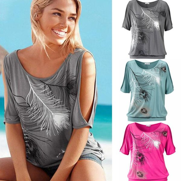 Slit Sleeve Cold Shoulder Feather Print Women Casual Summer T Shirt Girl Tee Tshirt Loose Top T-Shirt