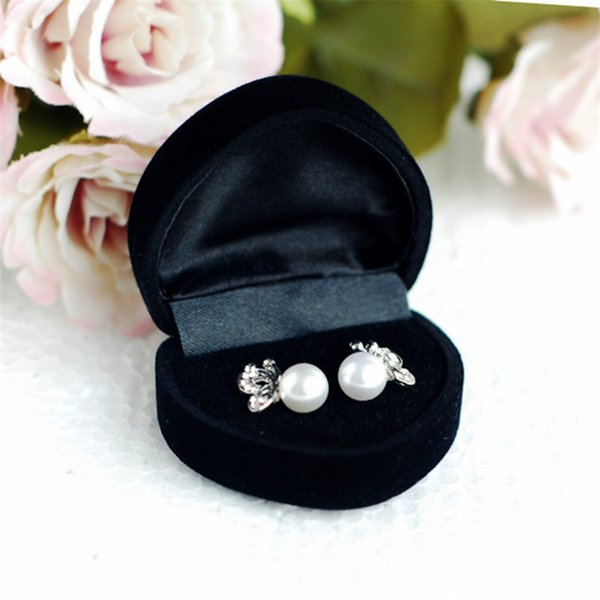 Hot Sale Wholesale 12pcs 4.8*4.2*3cm Black Small Velvet Jewelry Ring Packaging Box Luxury Wedding Ring Gift Box free shipping