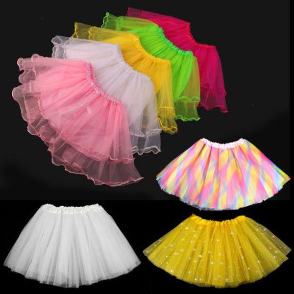 Summer Girls Tutu Dress Baby Girls Performance Gonna Star Lace Seven Color Dress Bambini Mezza gonna Princess Skirt Abiti Abbigliamento per bambini