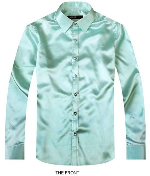 2017 light green luxury the groom shirt male long sleeve wedding shirt men's party artificial silk dress m-3xl 21 colors f