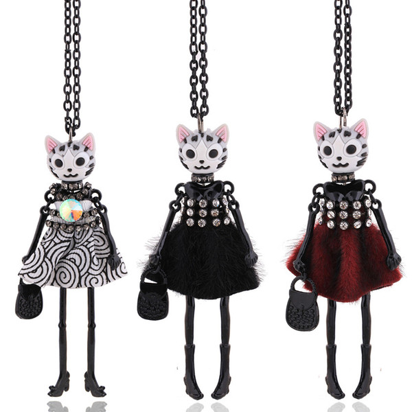chenlege 2019 long necklaces new pendants for women big chokers girl fashion jewelry cute cat necklace animal lady long chains