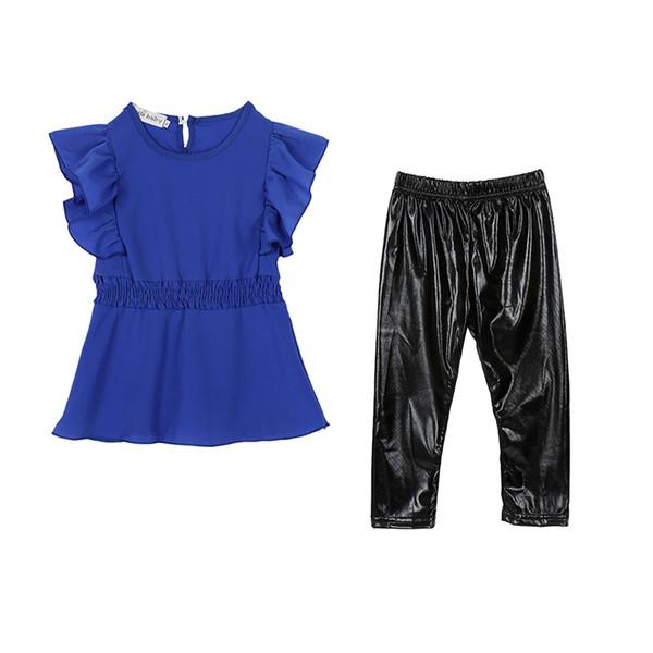 2017 New Fashion Clothing Set Leggings Children Trendy Kid Girls Clothes Suit Blue Shirt Dress+Black
