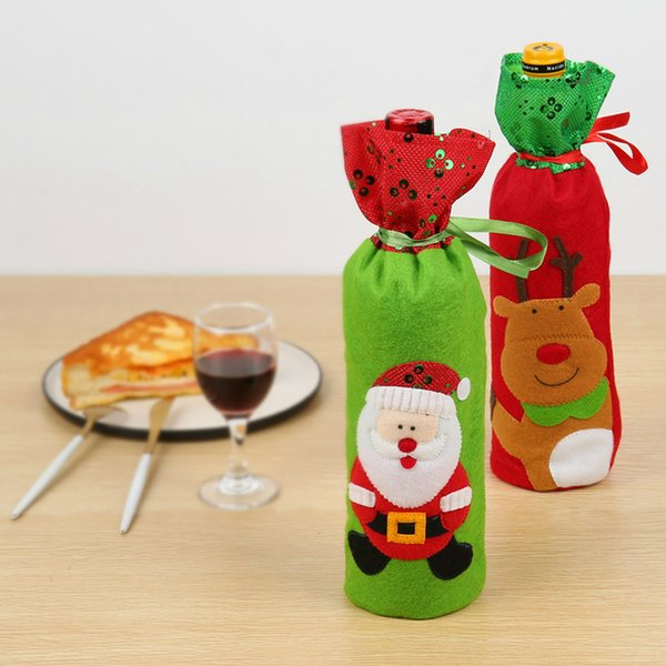 Christmas Wine Bottle Cover Old Man Snowman Deer Gift Bag Sequins Embroidery Bottle Bag Xmas Celebration Supply Christmas Decorations