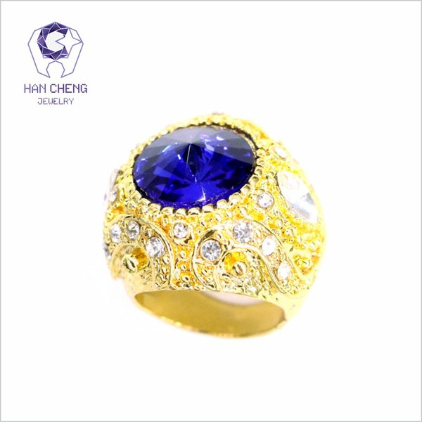 HanCheng New Fashion Luxury Vintage Gold Ring Carved Cutting Big Gem Created Crystal Rings Rhinestone Ring For Women Jewelry