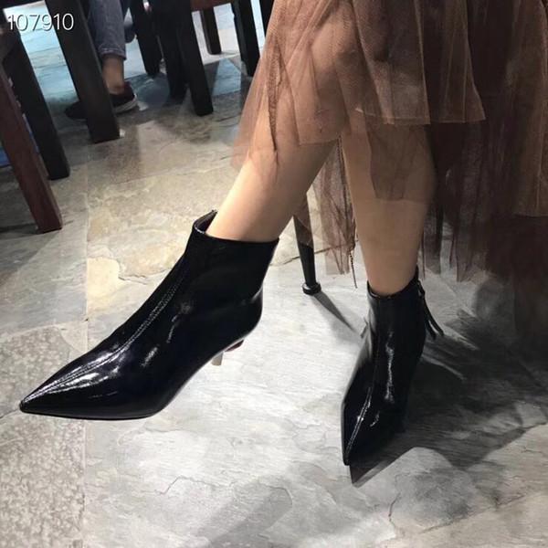 2018 Nouvelle arrivée filles sexy authentique patern cuir bottes courtes bureau dame casual talons pourpres doux boot noir école filles minces talons # CE01