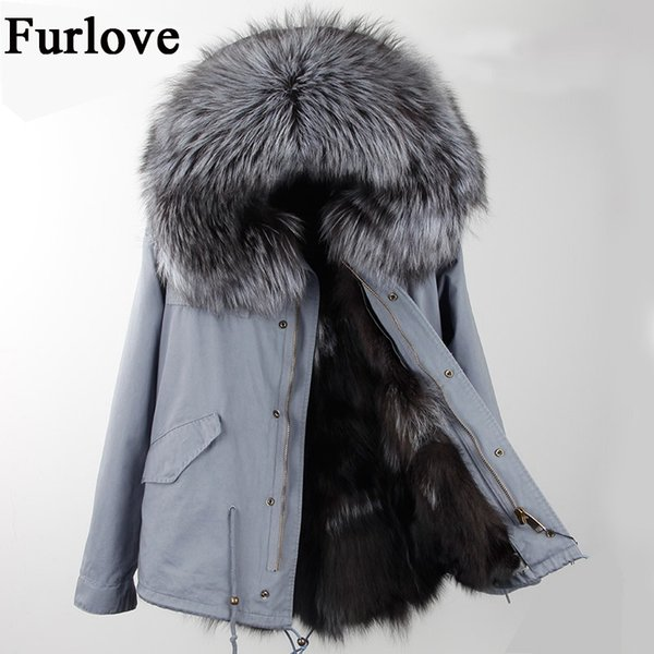 New Winter Jacket Women Parka Short Coat Real Raccoon Fur Collar Thick Warm Hooded Jackets Natural Fox Fur Lining Fashion Parkas