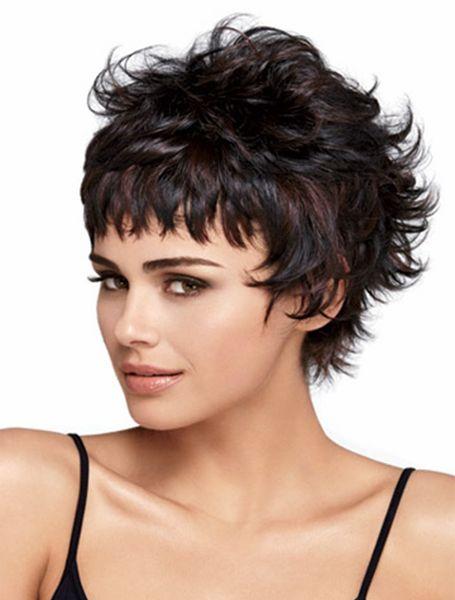 10 pouces de femmes nouvelles mini perruques de cheveux bouclés pour les femmes Pixie Cut synthétique courte perruque (Couleur: Noir Mix Dark Brown)