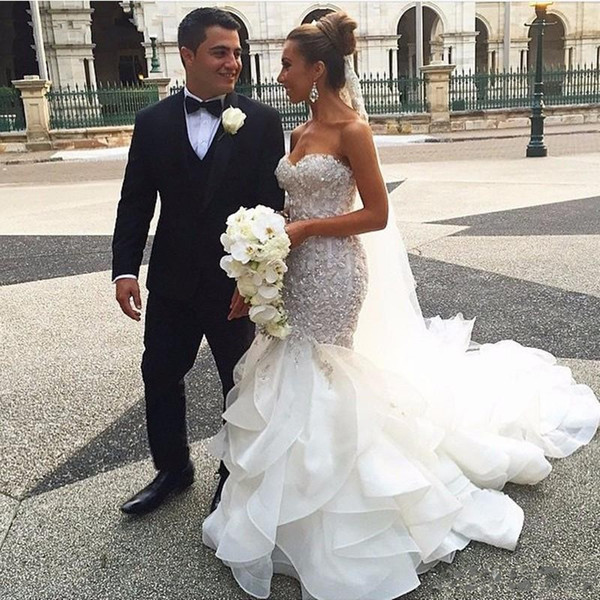 2018 Mermaid Wedding Dresses Sweetheart Tiered Ruffles Organza Lace Appliques Beaded Crystal Corset Bodice Top Long Plus Size Bridal Gowns