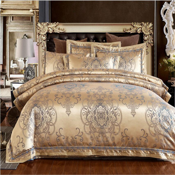 Jacquard satin bedding sets king queen size 4pcs beige/white/gold Embroidered bedlinens duvet cover bed sheet bedclothes cover pillowcases