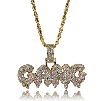 gioielli da uomo collane in oro gioielli hip hop colore bianco Zircon ghiacciato catene Retro alfabeto collana mens pendente in magazzino all'ingrosso