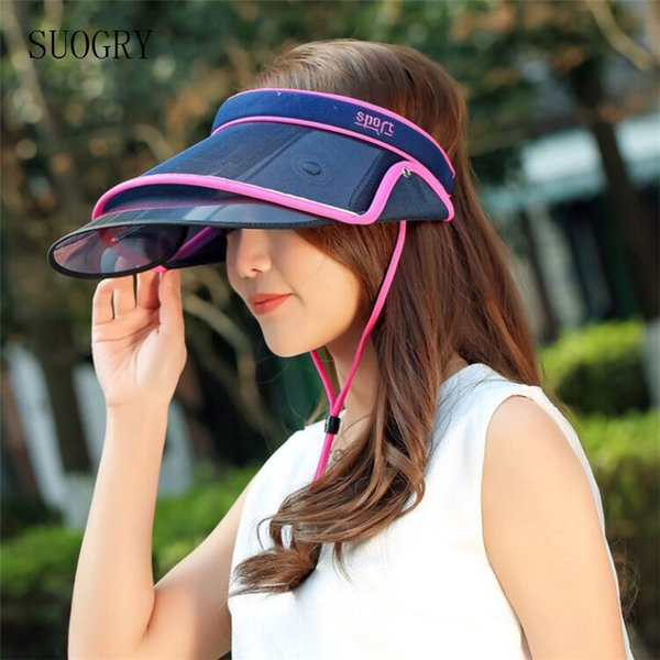 Retractable Sun Hat Visor Summer Empty Top Hats Fashion Visors Women Foldable Wide Brim With Ears Rolled Visor Hat Plastic Uv