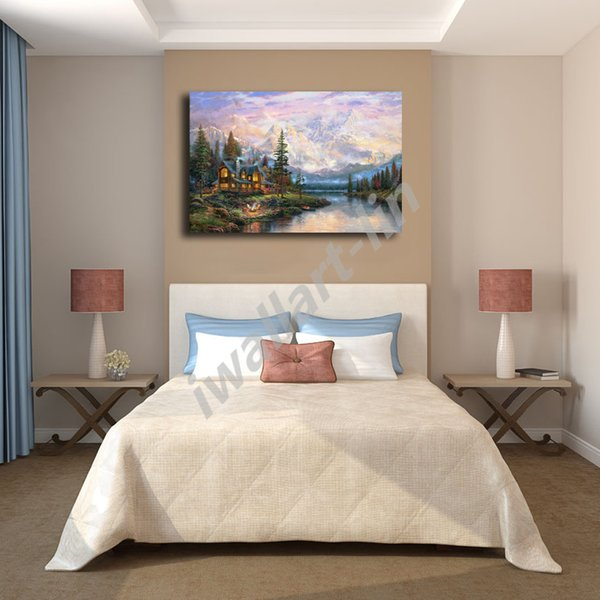 Thomas Kinkade Cathedral Mountain Lodge Poster Canvas Painting Oil Framed Wall Art Print Pictures For Living Room Home Decoracion