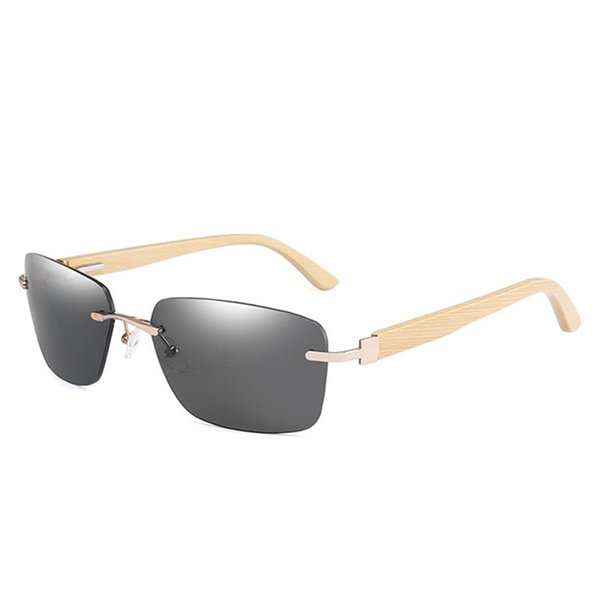 Vintage Men Rimless Sunglasses Classic Design Bamboo Frame Sun Glasses Retro Women Shades Gafas Oculos de sol UV400 Eyewear