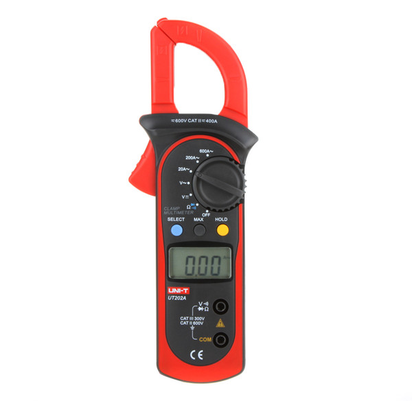 UNI-T UT202A Data Hold Clamp Meter 600A DC/AC Voltage AC Current Tongs Resistance Digital Clamp Meters W/ MAX & MIN Mode