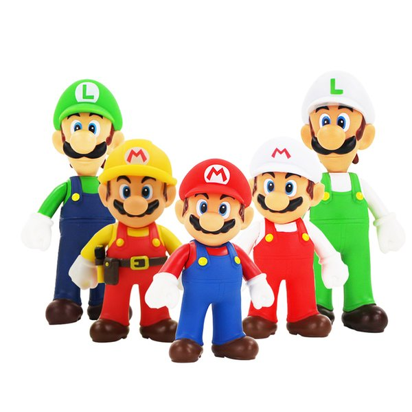 4style Super Mario Bros Luigi Mario Action Figure PVC Toy Doll 13cm Figures Toys For Children / Kid 1pcs