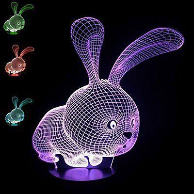 3D Animal Night Light LED 7 colori cambia camera da letto scrivania lampada da tavolo per i bambini regalo # R87