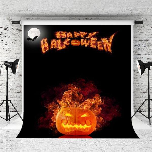 Dream 5x7ft Happy Halloween Backdrop for Photography Pumpkin Flame Photo Backdrops Black Solid Backgrounds Prop Photographer Halloween Party