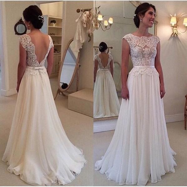 Hot Sale White wedding dresses lace illusion neck Sexy Cheap Country Beach Bridal Party Gowns Chiffon Simple vestido de novia Plus Size 2019