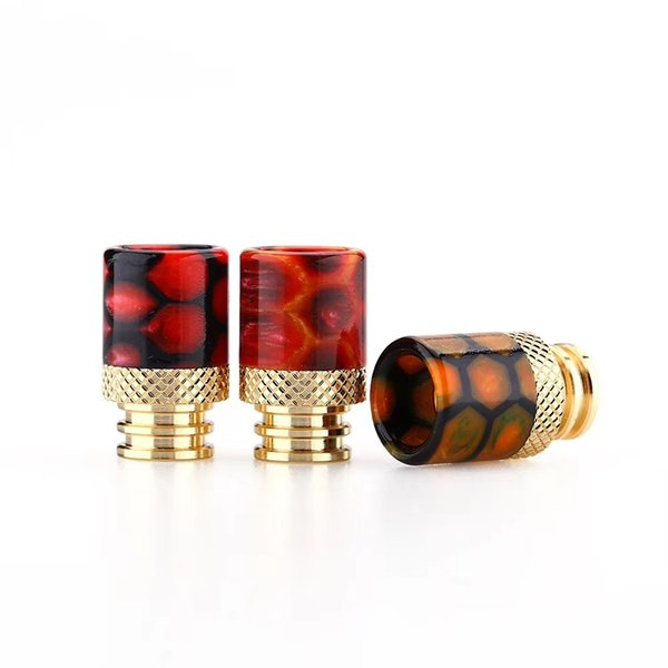 Snake Skin Grid Pattern Gold Stainless Steel SS 510 Thread Epoxy Resin Golden Drip Tips Mouthpiece for TFV8 Baby Atomizers Tank Vape DHL